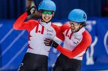 Samuel Girard et Charles Hamelin seront réunis peut-être pour une dernière fois lors de Championnats du monde, du 16 au 18 mars 2018, à Montréal. — Photo Daniel Villeneuve