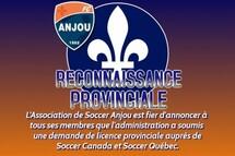 L'Association de Soccer Anjou vise une licence provinciale en 2021!