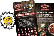 Carte Scores distribuée aux jeunes hockeyeurs de la région:  en plus du droit d'accès gratuit aux matchs des Inouk, le restaurant Scores offre un repas enfant gratuit à l'achat d'un repas adulte.