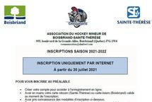 Période d'inscription saison 2021-2022