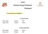 Horaire du camp printanier 2019