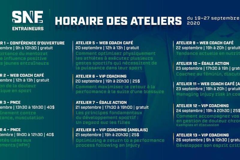 Semaine Nationale des Entraîneurs 19-27 septembre 2020