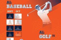 Calendriers golf et baseball saison 2017-2018