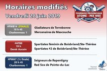Plus que 9 matchs aux Tournois Atome-Pee-Wee de Boisbriand!
