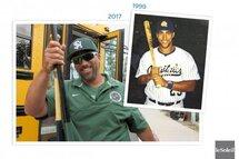 Photo ci-dessus : Dominic Campeau a réussi à unir ses deux passions. Cet amoureux d'histoire et du baseball enseigne l'histoire dans une école secondaire aux États-Unis et il dirige l'équipe de baseball. (Infographie Le Soleil)