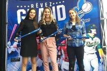Dans la catégorie Baseball féminin compétition: Alexanne Fournier (gagnante), Noémye Letendre (finaliste) et Meghan Jasmin (finaliste)