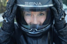 Lex Albrecht riding motorcycles in California, decked out with the Sena Momentum smart motorcycle helmet
