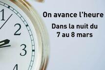 On avance l'heure dans la nuit de samedi 7 mars au dimanche 8 mars