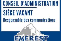 Siège vacant au conseil d'administation : responsable des communications recherché