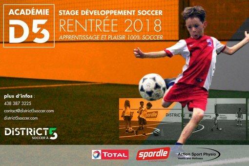 ACADÉMIE D5 : Lancement des stages de soccer