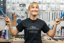Professional cyclist and former bike shop employee, Lex Albrecht holds two Park Tools pedal wrenches. Lex loves bike tools and will be learning how to build a steel bike frame in Arizona.