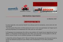 Informations sur la reconnaissance des clubs