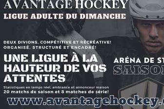 Ligue du dimanche: pour inscription www.avantagehockey.com