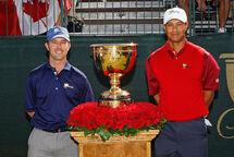 Mike Weir et Tiger Woods lors de l'édition de 2007, à Montréal. (Getty)