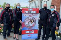 François Cloutier (Directeur VIP), Bianca Robichaud (Présidente 2021), Jean Martin (Propriétaire IGA) et Daniel Dubé (Président 2019)