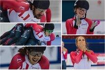 Charles Hamelin, Charle Cournoyer, Samuel Girard, Kim Boutin et Kasandra Bradette ont assuré leur participation aux Olympiques de 2018 grâce à leurs performances aux Sélections olympiques. — Photos Claude Rochon