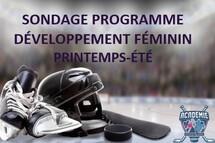 Sondage Académie Hockey Laval - Programme développement féminin