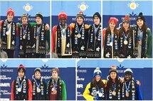 Photos des podiums du 400m où les 5 médaillés d'or ont complété leur balayage en remportant trois médailles d'or individuelles à la 54e finale des Jeux du Québec, à Charlesbourg.