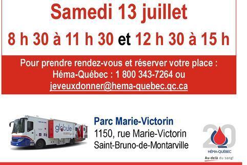 Collecte de sang aujourd'hui - Parc Marie-Victorin