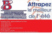 Inscription Baseball 2018 - Date Limite 14 mai 2018
