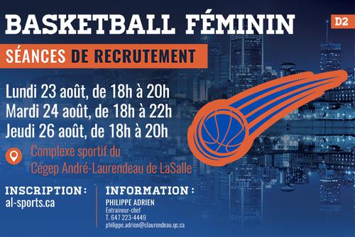 Séances de recrutement de la rentrée - Basketball féminin