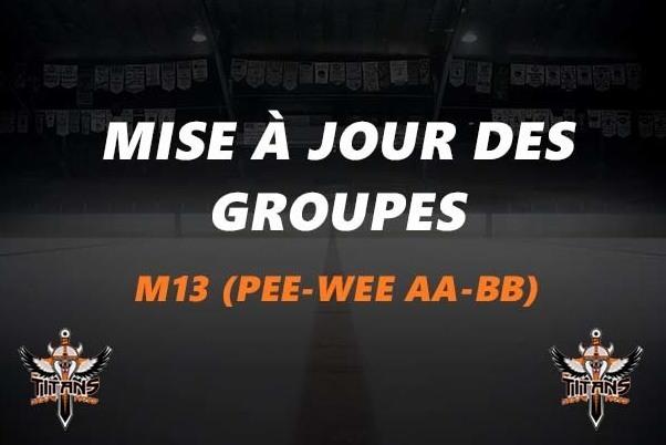 Mise à jour des groupes (M13 Pee-wee AA-BB)
