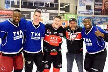 Sur la photo: Andy Mailly-Pressoir, Pascal Dupuis, Sébastien Renaud, Stéphane Hamilton et KevinRaphael