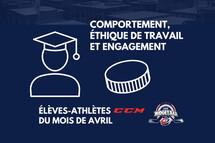 La Ligue midget AAA honore les 15 élèves-athlètes CCM du mois d'avril
