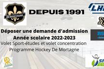 La période de demande d'admission est débuté pour le Volet Sport-études hockey 2022-2023