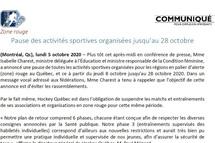 Montréal Zone Rouge - Covid 19 - Pause des activités sportives organisées jusqu'au 28 octobre