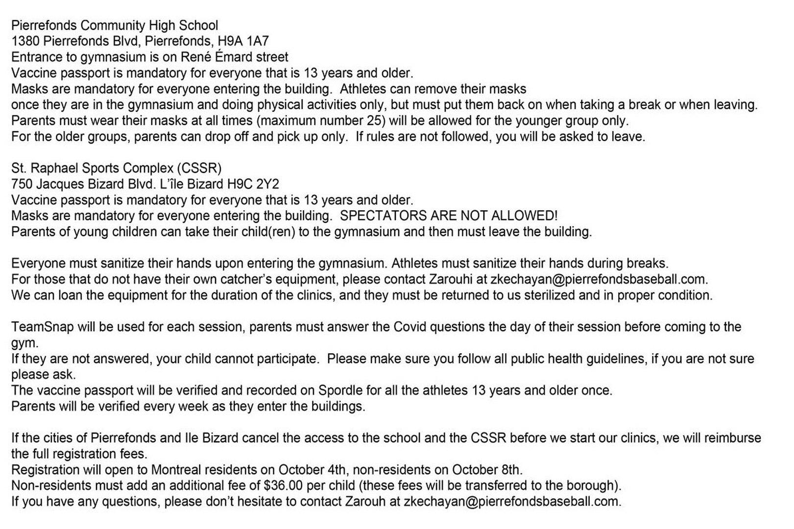 Fall Clinic Covid Rules
