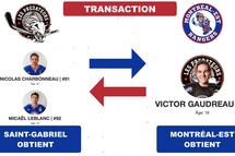 Transaction: Gaudreau à Montréal-Est; Charbonneau et Leblanc à St-Gabriel