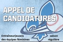 Appels de candidatures au baseball féminin