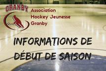 Informations de début de saison