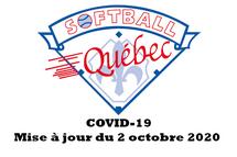 COVID19 - Mise à jour de la pratique du softball par palier d'alerte