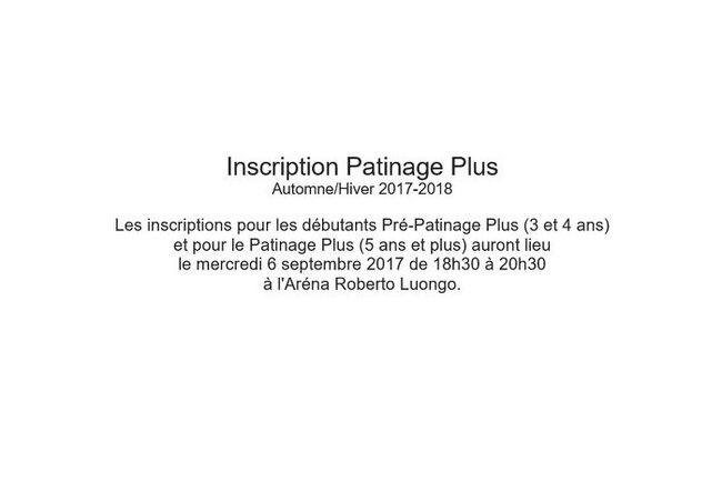 Inscription Patinage Plus 2017-2018