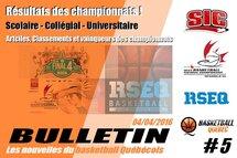 Bulletin #5 - Les nouvelles du Basketball Québécois
