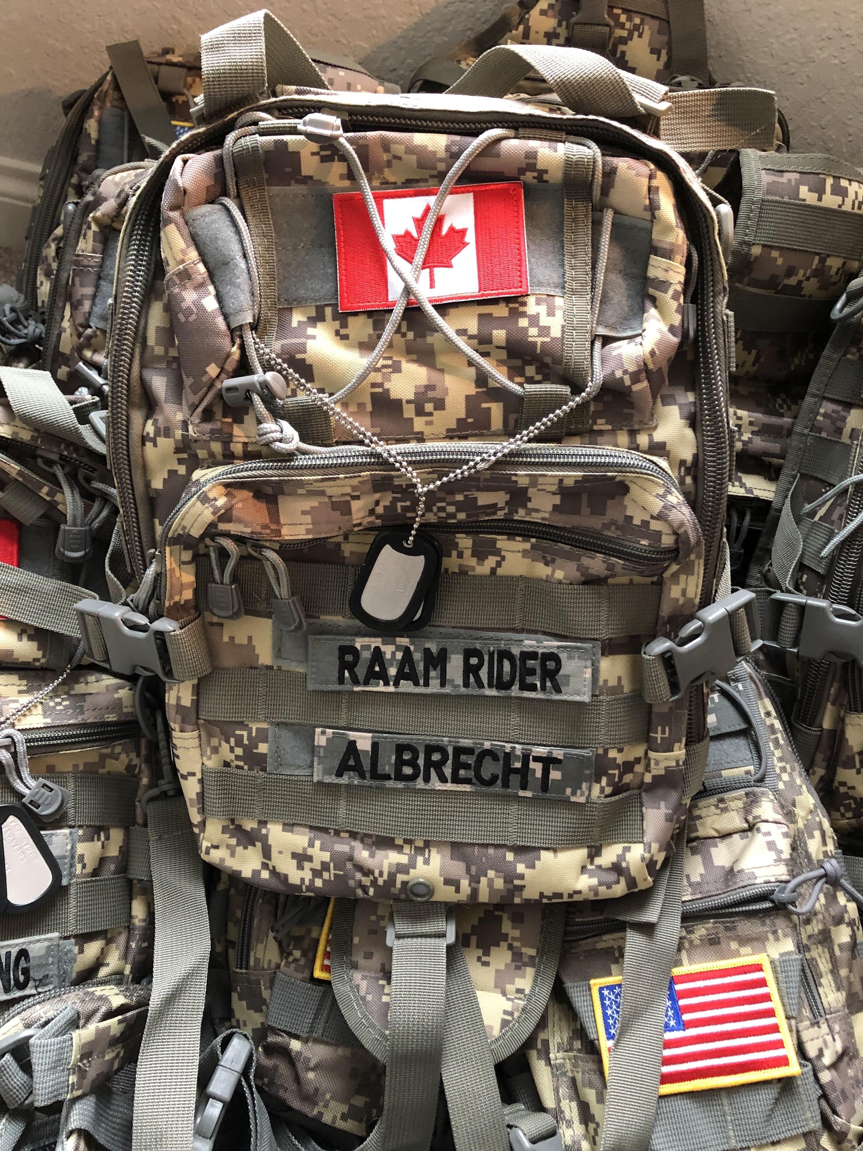 Lex Albrecht's Race Across America custom army backpack
