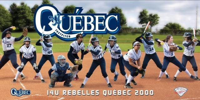 L'équipe Rebelles 2000 U14 (benjamin) du programme des équipes du Québec de Softball Québec.