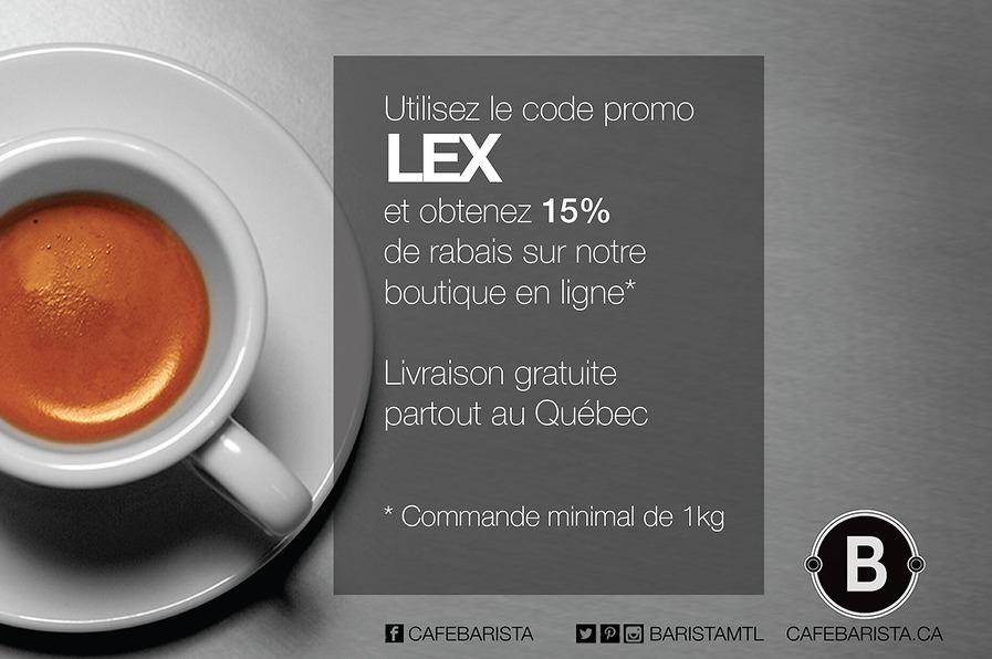 Café Barista, Code promo, rabais café, café québécois, microtorréfaction, café spécialité, Alex Serrano, Coffeeshopride