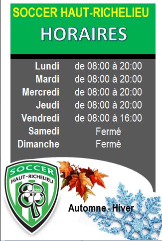 Horaire Soccer Haut-Richelieu